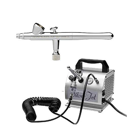 IWATA REVOLUTION BR AIRBRUSHING SYSTEM WITH SILVER JET AIR COMPRESSOR by...