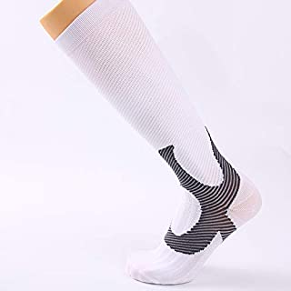 YBAA Compression Socks Women Men Sports Cycling Socks Outdoor Sports Basketball Football Women Socks (Color : White, Size : S/M)