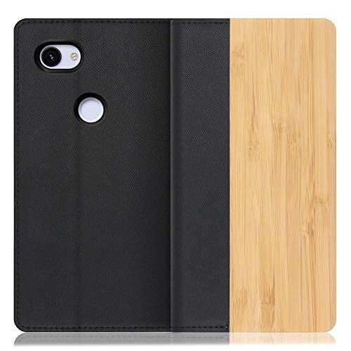 LOOF Nature Google Pixel 3a 手帳型 カバー 本革 天然木 ベルト無し ウッド 木製 木 カード収納 カードポケット 本革 高級 スタンド機能 手帳型ケース スマホケース