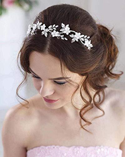 Simsly Blumenhaarschmuck für Bräute, Hochzeits-Haarschmuck, silberfarben, Haaraccessoire, mit Perlen, Brautschmuck, Haarband, für Damen und Mädchen