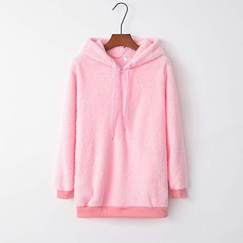 Sudadera Sherpa con capucha para mujer, de lana, suave, color rosa, S