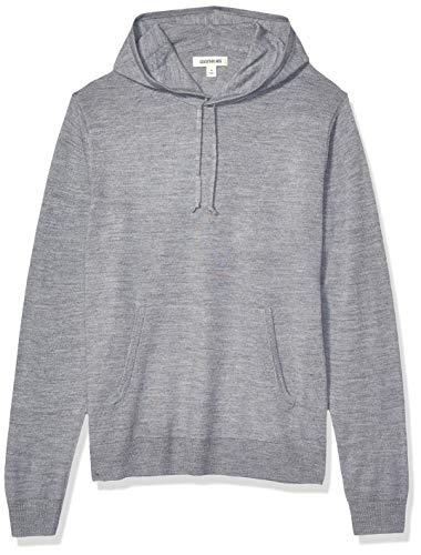 Amazon Brand - Goodthreads Men's Lightweight Merino/Wool Acrylic Pullover Hoodie Sweater, Heather Grey Medium