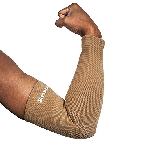 Senston Kompression Armlinge 1 Stück Sonnenschutz Arm Sleeve Armwärmer Basketball Volleyball Radfahren Laufen für Herren Damen Jungen