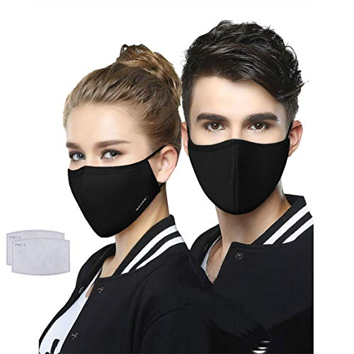 wecan Face Cover with 2pcs Activated Carbon Filter Replaceable Haze Dust Face Health for Adults - Black