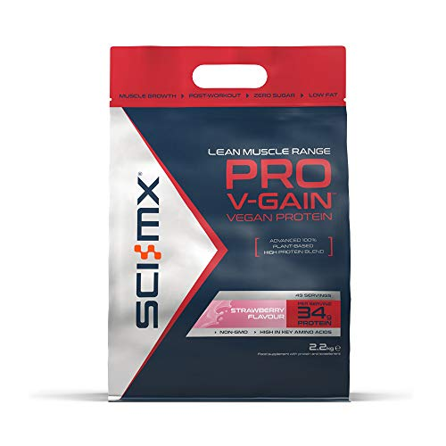 SCI-MX Nutrition Pro V-Gain Protein Powder, Plant Based, 2.2 kg, Strawberry, 49 Servings