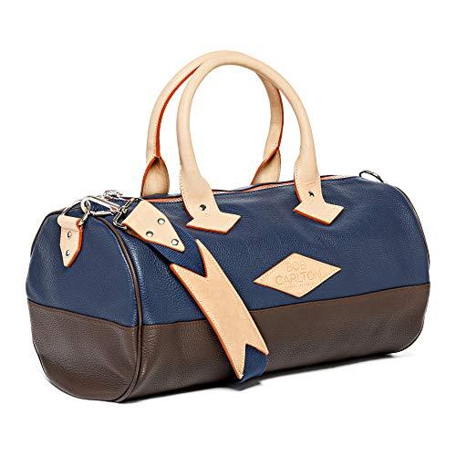 Bob Carlton Hand Luggage Approved as Cabin Suitcase – Bag for Airplane Made in France French Côte d'Azur 40 x 26 x 26 cm – 21 L – L'Elegance Casual (Navy Blue and Chocolate Grained Leather)