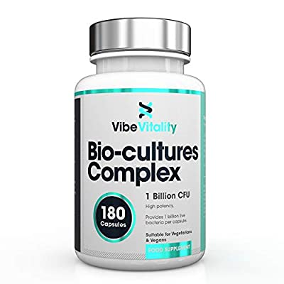 Bio-Cultures 1 Billion CFU 180 Capsules (6 Month Supply) | Vegetarian Multi Strain | High Strength Cultures Includes Lactobacillus Acidophilus & Bifidobacterium. Made in the UK