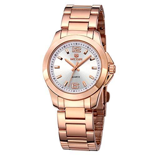 Reloj Analógico Automático para Mujer, Relojes Analógicos Moda Casual para Mujer con Banda de Acero Inoxidable (5006 Plata Rosa)