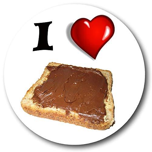 Gifts & Gadgets Co. I Love Nutella On Toast Kühlschrankmagnet aus Metall, 38 mm, rund, bedrucktes Geschenk