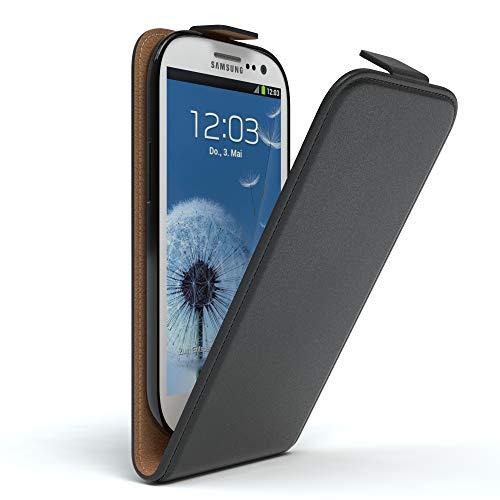 EAZY CASE Hülle kompatibel mit Samsung Galaxy S3 / S3 Neo Hülle Flip Cover zum Aufklappen, Handyhülle aufklappbar, Schutzhülle, Flipcase, Flipstyle Hülle vertikal klappbar, Kunstleder, Schwarz