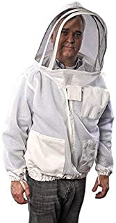 Forest Beekeeping Ventilated Jacket - Clear View Fencing Veil YKK Brass Zippers Ultra Light Weight & Maximum Protection Pr...