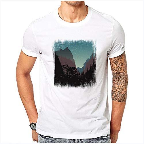 JJLESUN2 Tshirt Vetements, T-Shirt Unisexe à col Rond, Pas Cher, Streetwear, Mountain Peaks Under Night Pattern-T-Shirt à col Rond uni de Couleur Unie pour Hommes, Grande Taille pour Hommes