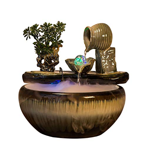 Zaza Fountain Indoor Desktop Fountain Leisure Ceramic Fountain With Atomizer Water Waterfall Home Office Bedroom Decoration Crafts Gifts Portable fountain