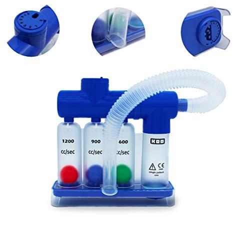 MedX5 (Upgrade 2020) Lungentrainer KM-805, 3-Kammer Atemtrainer mit 2 verstellbaren Ventilen mit denen man den Widerstand einstellen kann, Ergotherapie, Lungentraining, Atemtraining