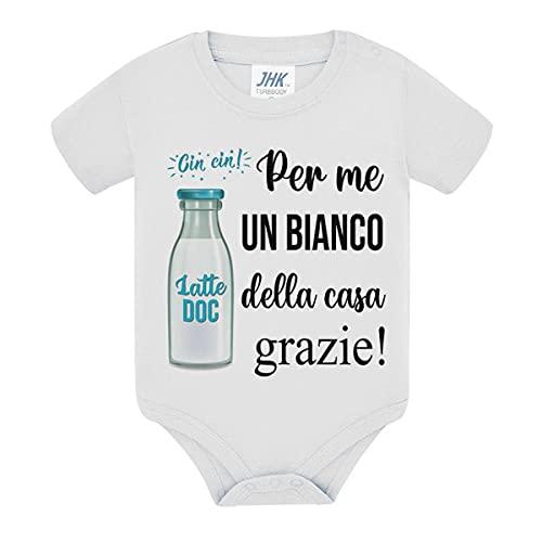 Body bimbo bimba neonato neonata Per me un bianco della casa grazie! Cin Cin! Divertente brindisi vino con latte! (12 mesi)