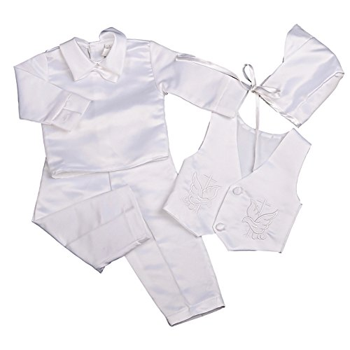 Dressy Daisy Baby Boys Baptism Christening Suit Outfit Bonnet Long Sleeves 4 Pcs Size 12-18 Months White