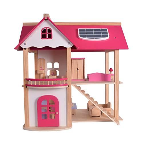 Casa de muñecas Rosa casa de muñecas padres e hijos interactivos Juguetes for niñas jugar a las casitas Conjunto de bricolaje Villa edificio de la cabaña de inteligencia juguetes del desarrollo juguet