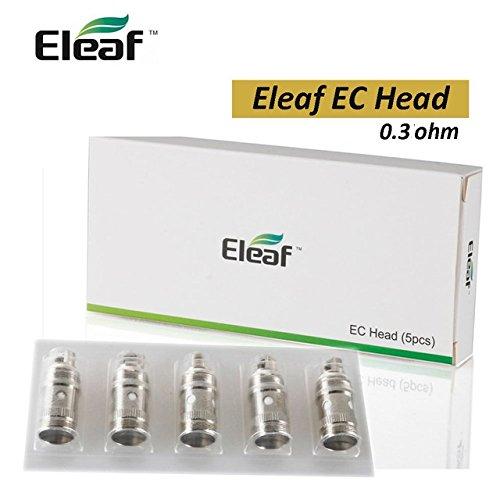 Eleaf Widerstand 0,3ohm 5 Stück iJust S, iJust 2, iJust 2 Mini, Apfel, Melo 2, Melo 3, Lemo 3 0,3 Ohm EC Head Coil Genuine Quality Produkt ohne Nikotin