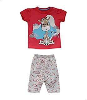 Jockey Printed Short-Sleeve Snap-Closure T-shirt with Elastic-Waist Pants Pajama Set for Girls - Grey and Red, 6-9 Months