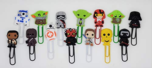 Set of 14 Star Wars Bookmarks or Paperclips - Mandalorian The Child, Darth Vader, R2-D2, Yoda and 10 Other Characters