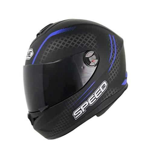 Qianliuk 966 Anti-Nebbia Moto Casco Uomini Donne Moto Motocross caschi Completi Viso Nero Lente caSchi Sub Nero 57-64cm