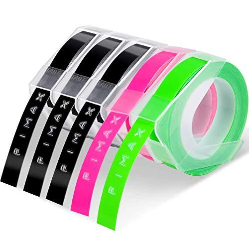 3D Nastro Etichette a Rilievo Fimax compatibile in sostituzione di Dymo Embossing Tape 9mm per Dymo Junior Omega Etichettatrici a Rilievo, Bianca su Nero/Rosa fluorescente/Verde fluorescente (5pz.)