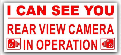 Platina Plaats 1 x Externe Sticker-Ik kan zien You-Achteraanzicht Camera In bedrijf-Rood op Wit-Veiligheid Waarschuwing-200mm x 87mm-CCTV Sign-Van,Vrachtwagen, Taxi, Bus,Mini Cab,Minicab