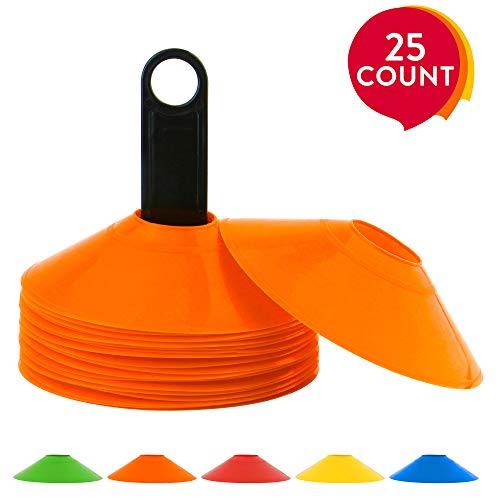 REEHUT Coni da Allenamento di Agilità Set di 25 Coni da Sport con Supporto in Plastica & E-Book Mini Dischi Coni Marcatori Perfetto per Calcio, Rugby e Qualsiasi Altro Gioco di Palla - Arancione
