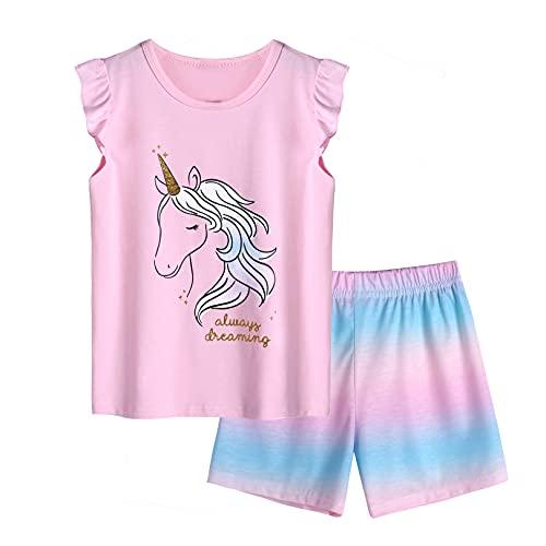 Arshiner Pigiama corto da bambina, in cotone, per la primavera e l'estate, set di pigiama, a maniche corte, 2 pezzi, costume da donna Colore: rosa. 110 cm