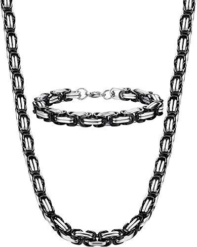"""Finrezio 8mm Edelstahl Herren Halskette Armband Set Byzantinische Kette 24 Zoll mit 8,5""""Armband"""