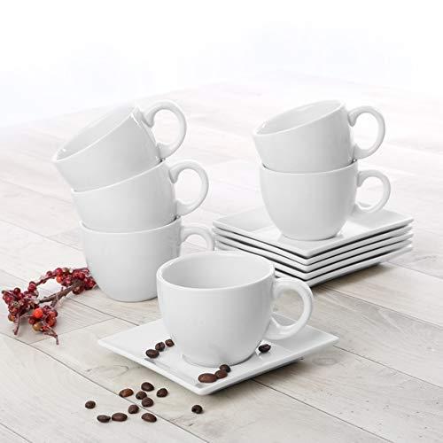 Holst Porzellan PA 151 12 Cappuccino-Set Palermo 0,20 l mit Untere, 6 Einheiten, Porzellan