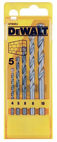 Dewalt Steinbohrer-Set DT6952 (5-teiliges Set in Kunststoffkassette - Ø 4, 5, 6, 8, 10 mm, geeignet für den Einsatz in Beton, Mauerwerk, Natur- und Kunststein, Ziegel)