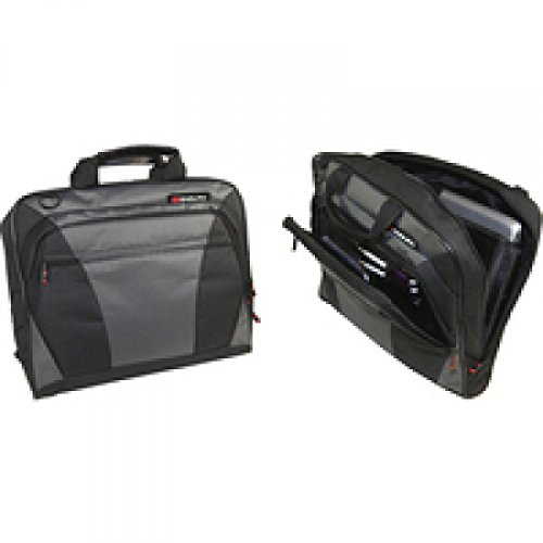 Monolith Nylon Laptop Messenger Bag Holds 15.4 Inch Laptop W400xD70xH320mm Black/Grey, 202564