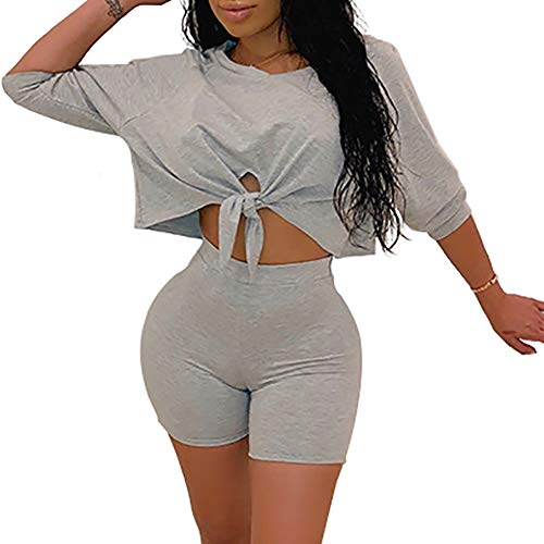 Women's Sexy 2 Piece Outfits Crop Top Bodycon High Waist Shorts Tracksuit Set Jumpsuits Rompers Grey M