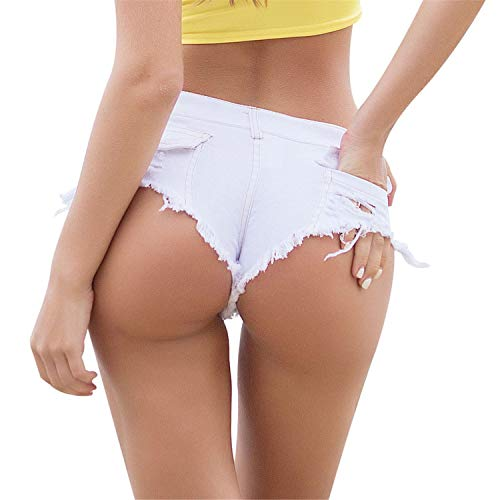 Ladies Low Waist Ripped Denim Shorts Womens Mini Hot Pants Slim Stretch Short Jeans Summer Party Beach Brief Pants (White, M)