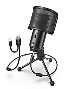 Fifine USB Condenser Microphone for PC Computer and Mac, Streaming Mic with Pop Filter Gain Control Mute Button Headphone Jack for Gaming YouTube and Recoding, Extra USB-C Plug - 683A