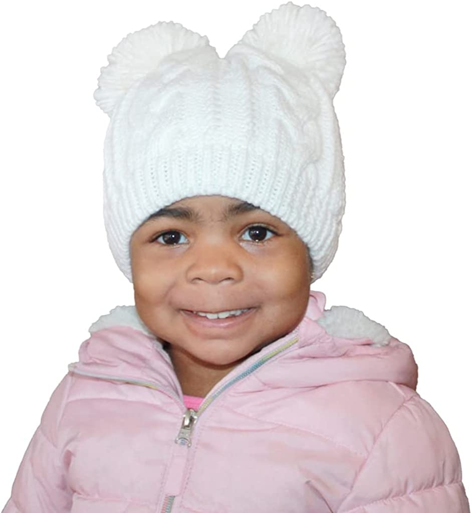 Marley Autumn Satin Lined High-End Winter Beanie Hat with Poms