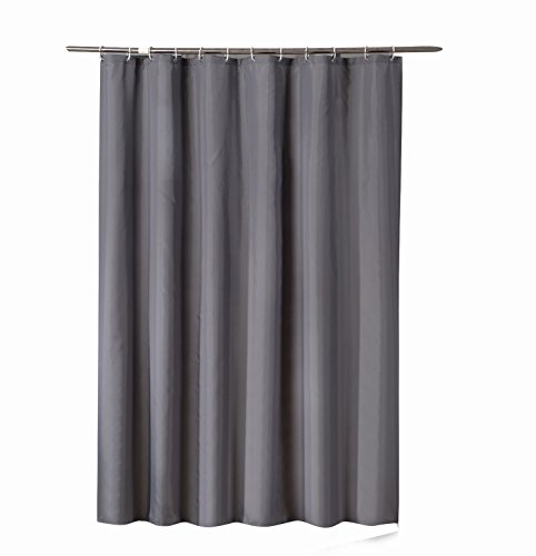 shower curtain in waterproof and mildew resistant, with resistant eyelets, plastic curtain rings and hem with weight, Deep Gray, 180 x 180cm