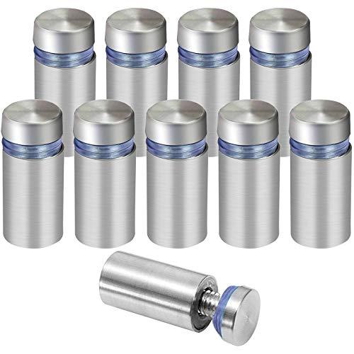 NATEE 10 Stück Glasabstandshalter Abstandshalter für Glas und Acrylglas, Glas-Abstandshalter für Montieren und Befestigung des Glases, Schraube, Abstandsbolzen, Ständer (Silber)