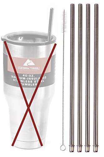 4 WIDE 40-Ounce Stainless Steel Straws (NO CUP)...