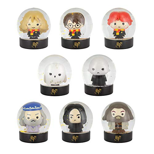 Paladone Mystery Blind Box, 1x Mystery Blind Box ,8 Hogwarts Figuren Sammlerfiguren Glaskugel Dekorationen One Gets, Gold Glitzer Harry Potter Schneekugeln 9 cm