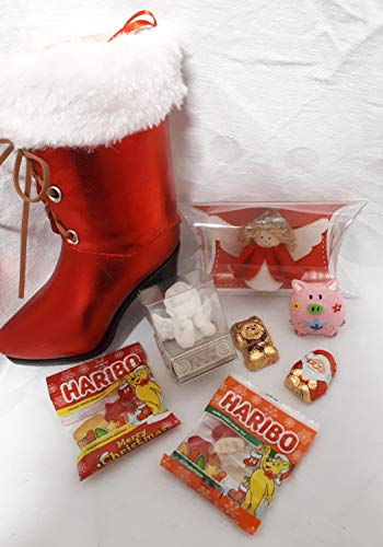 Unbekannt 110603 Damen Stiefelette Weihnachten gefüllt mit Engel und Glücksbringer Wichtelgeschenk Nikolaus