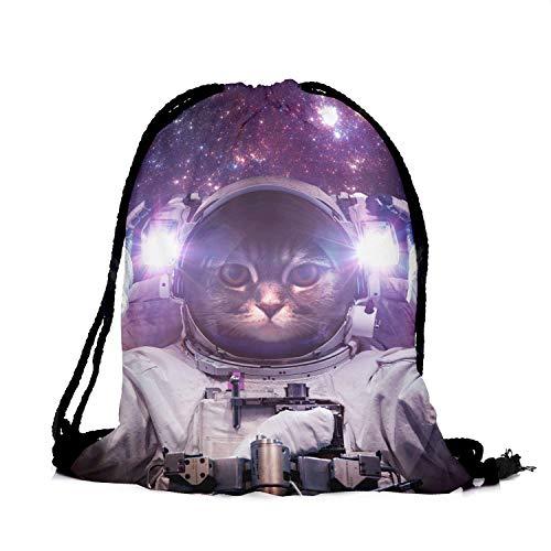 HELLATHUND Fashion Schule Rucksack Weiblichen Beutel für Mädchen Beuteltasche Hipster Tasche Rucksack Turnbeutel (Galaxy cat)