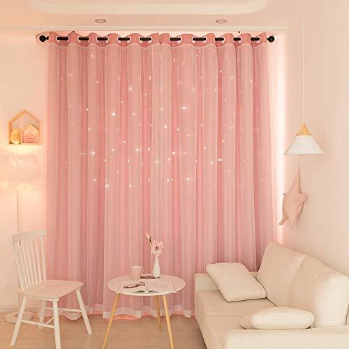 BerryChips 1 Pair Cortina Interior con Protector Solar de luz para el Dormitorio de la Niña, Ventana de Doble Capa, 39.4