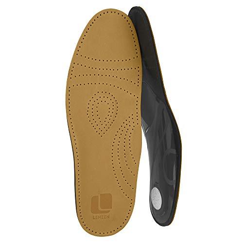 Lenzen Prestige Fußbett Einlegesohlen aus hochwertigem Leder I Orthopädische Schuheinlage mit Mittelfußstütze, Fersenpolster und Aktivkohle (42)