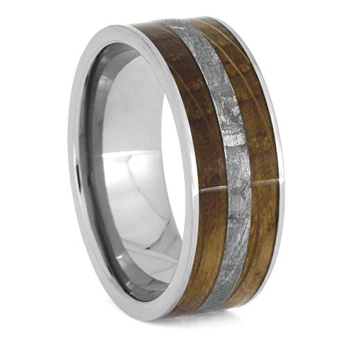 Jewelry By Johan Whiskey Oak Ring with Meteorite, Wooden Men's Wedding Band