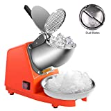 VIVOHOME Electric Dual Blades Ice Crusher Shaver Snow Cone Maker Machine Orange 143lbs/hr for Home...