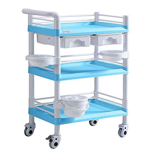 Estantes de cocina, Almacenamiento Rack Sirviendo Carrito Medical Carro 3 Nivel Pesado Carro médico con cubo de suciedad del cajón, carro de salón de belleza ABS portátil con rueda rodante, 100-150 kg