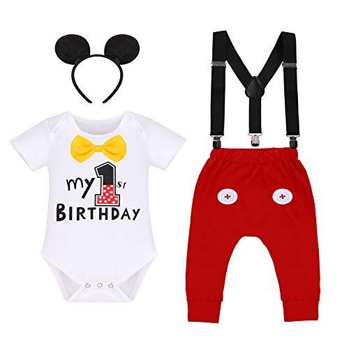 FYMNSI Body de algodón de manga corta con tirantes y pantalón largo y diadema para las orejas, 4 piezas Blanco - 1º cumpleaños 12-18 Meses