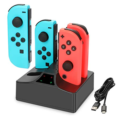 Joy-Con Charger for Switch, YCCTEAM 4 in 1 Fast Charging Station for Switch Joy-Con Controllers with Individual LED Indicator and 5FT USB Charging Cable for Switch